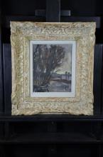 Oil on wood Autumnally river landscape, Frame with chalk, unreadable signature. 32 x 27cm