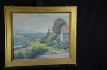 Oil on canvas Summerly landscape with river valley, signed EH Golay, Aire 1934. 50 x 60cm.