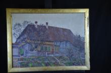 Oil on canvas House, signed CH. B. V. 22. 56 x 77cm.