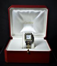 Automatic wristwatch CARTIER Santos. Two-tone in its own box.
