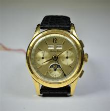 MATHEY TISOT Chronograph. Valjoux 7288. 18 ct gold with moonphase. Diameter 38 mm