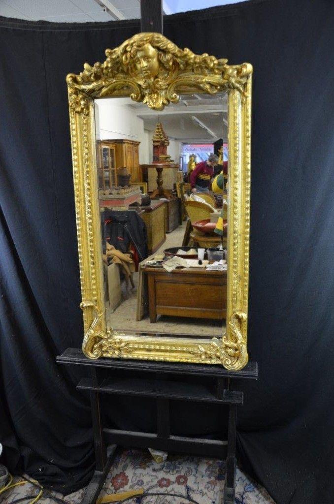 Miroir dor sculpt h 110cm largeur 87cm for Miroir largeur 50