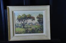 Oil on wood Hameau de Beaubourg (France), signed André Beronneau. 26 x 34cm.