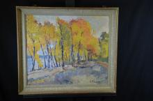 Oil on canvas Under trees, signed M. Theynet 1945. 60 x 70cm.