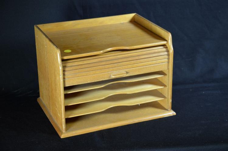 Petit meuble de bureau avec fermeture rideau h 25cm l for Meuble bureau rideau