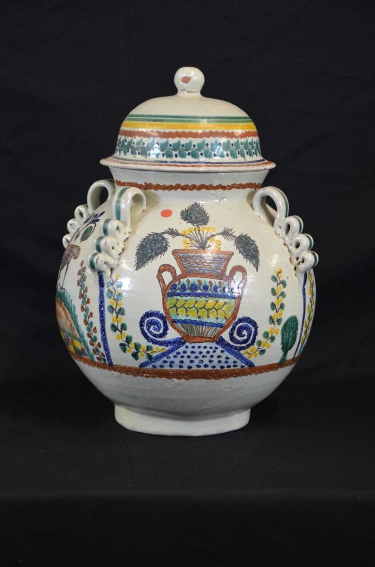 gros pot avec couvercle en c ramique avec d cor floral et o. Black Bedroom Furniture Sets. Home Design Ideas