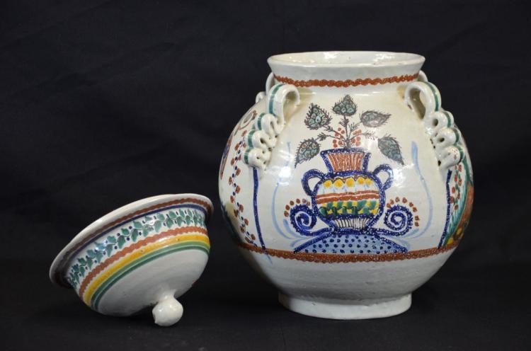 gros pot avec couvercle en c 233 ramique avec d 233 cor floral et o