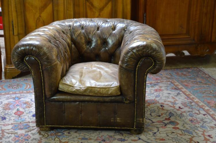 Fauteuil club imposant anglais cuir brun - Fauteuil club anglais cuir ...