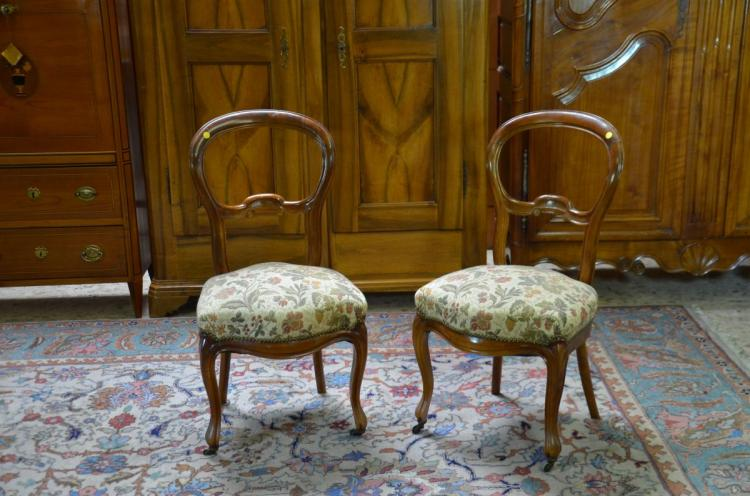 2 chaises louis philippe noyer rembourr es for Chaise louis philippe