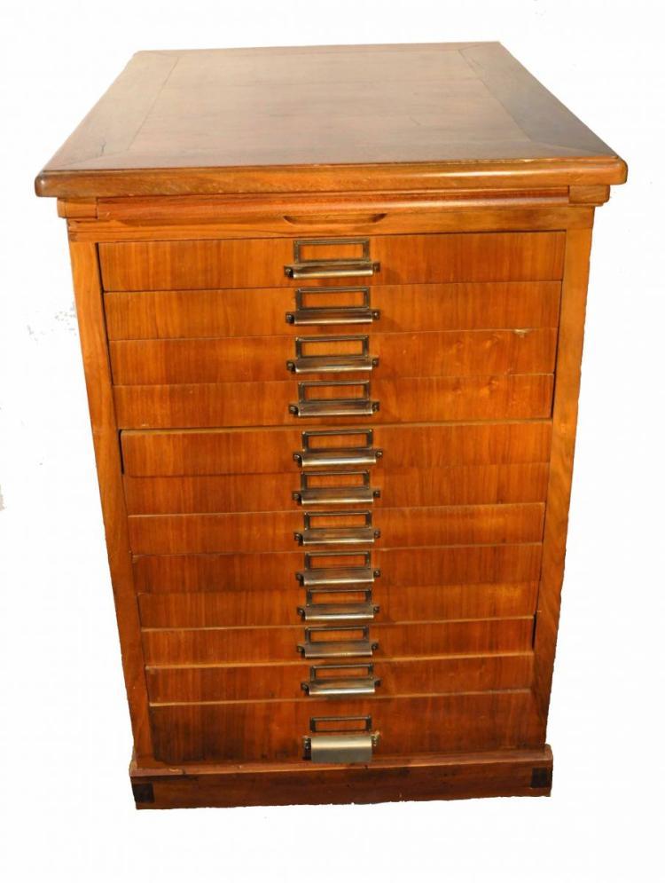 Layette avec 12 tiroirs et 1 plateau en bois plaqu noyer - Plaque bois hydrofuge ...