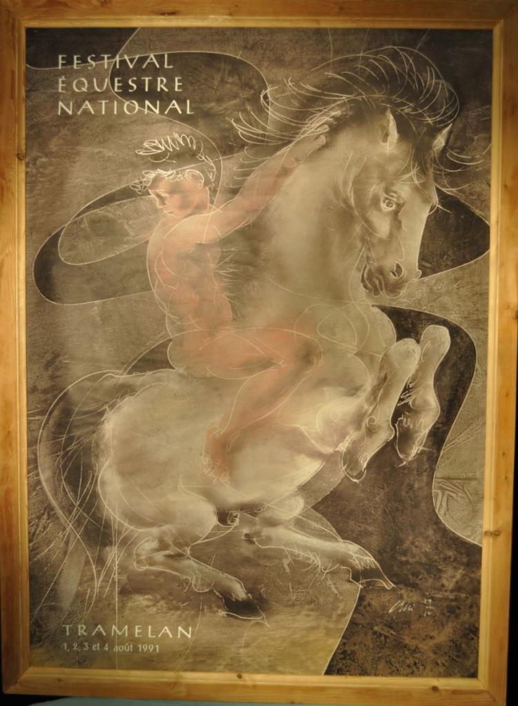 Affiche concours hippique Tramelan de 1982 Avec encadrement