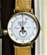 Quartz wristwatch LONGINES. Triple calendar and moon phase. In box.
