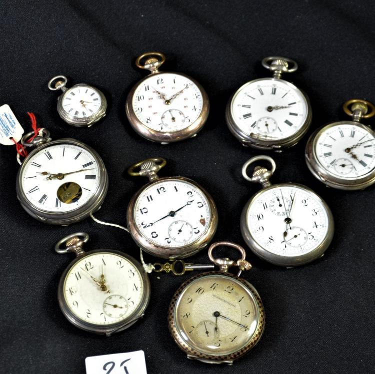 9 montres de poche en argent diff rentes marques et grandeu for Differentes marques de tuiles