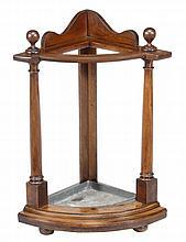 A Victorian mahogany corner stickstand, circa 1850