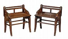 A pair of Victorian walnut and brass mounted hall seats
