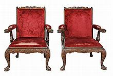 A pair of mahogany library chairs, in George III style
