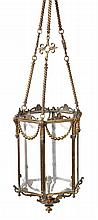 A Victorian gilt metal and glazed hall lantern, third quarter 19th century