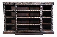 A Victorian oak breakfront open bookcase, circa 1880