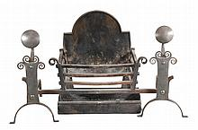 A cast and wrought iron firegrate in early 18th century style