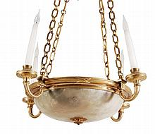 A Continental gilt metal and alabaster mounted four light electrolier