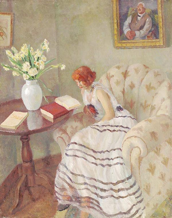 Patricia Preece (1900-1971). A lady seated reading