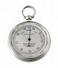 A Victorian silver cased aneroid pocket barometer