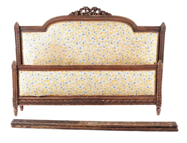 A french carved and grained wood double bed frame second h