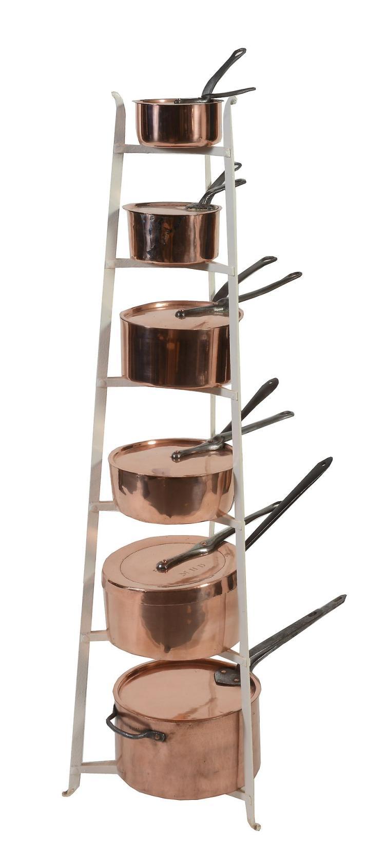 A batterie de cuisine of six copper and iron mounted saucepa - Batterie cuisine pierre ...