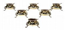 A set of six silver gilt cauldron salt cellars by