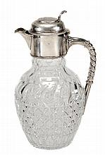 A Victorian silver and cut glass claret jug by W.