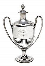 A George III silver twin handled cup and cover,