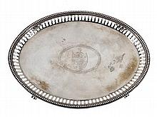 A George III oval silver tea pot stand by