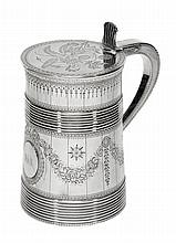 A George III barrel shaped straight-tapered silver