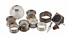 A collection of silver, to include: a glass globular match striker with...