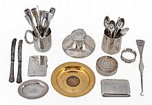 A collection of silver items, to include: a silver gilt commemorative plate...