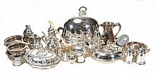 A group of electroplated items, to include