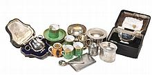 A collection of silver and silver coloured items, to include