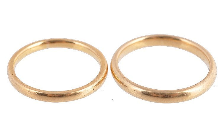 Two 22 carat gold wedding bands , finger sizes M 1/2 and P, 6.9g