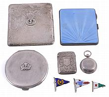 A collection of silver items, to include: a silver cigarette case by Adie...