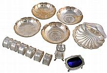 A collection of small silver, comprising: a set of six engine turned...