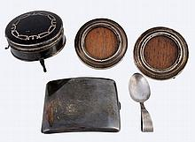 A small collection of silver items , comprising