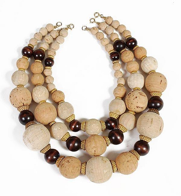 Three cork, wood and gilt metal beaded necklaces