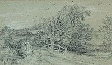 Follower of John Constable - Landscape with bridge (location traditionally identified as Dedham),