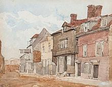 English School (19th Century) - A row of houses,