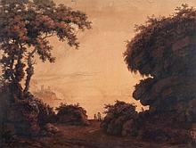 English School (early 19th Century) - Figures on a wooded coastal path with the sea, sailboats, and ruins beyond,