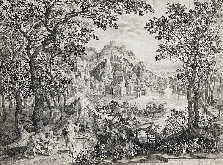 Nicolaas de Bruyn (1571-1652) - Landscape with Elisha cursing the children of Bethel who are being devoured by bears,