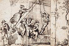 Circle of Bartolomeo Pinelli - The swing,