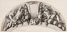 Circle of Paolo Farinati - Four cherubs with cartouche, within a drawn arch,
