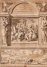 Circle of Jan Luyken - Original illustration for bible title page, with two vignettes surmounted with decorative niche,