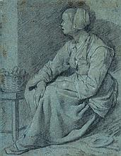 Dutch School (17th Century) - A seated woman with a basket,
